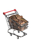Miniature shopping cart filled with pennies poster