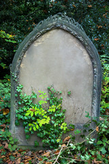 Old tombstone with inscription removed for copy space