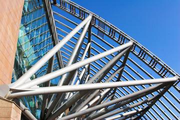 futuristic business center metal roof construction