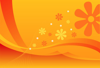 Summer background in orange design, vector illustration