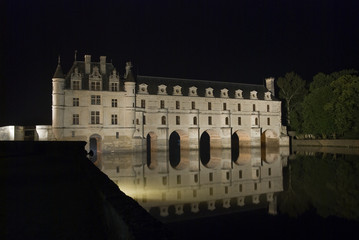 Night illumination of Chateau Chenonceau, France