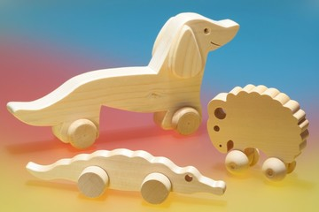 Wooden toys on  colorful background
