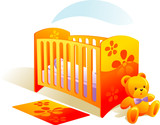 Nursery, baby in bed, teddy bear, carpet. Vector illustration