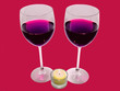 Romantic dinner for two, two glasses of red wine, candle
