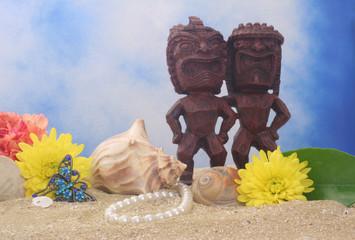 Tiki Statue on Beach