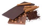 slabs chocolate, grated chocolate and cinnamon poster