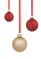 Red and gold christmas balls isolated on white