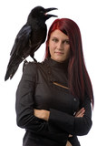 young witch with raven poster