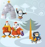 family visit (illustration for Christmas) poster