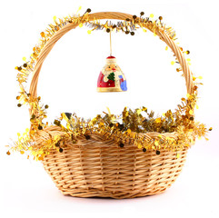 wooden russian santa claus attached to the basket