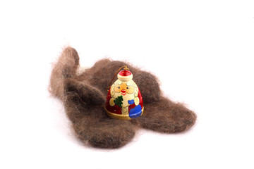 wooden russian santa claus on the downy mitten
