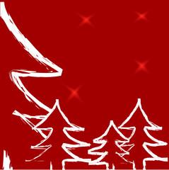 Sapins blancs sur fond rouge