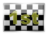 Chequered Flag 1st glassy enamel badge poster
