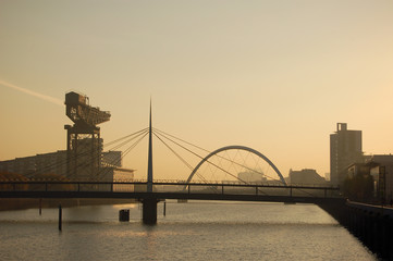 Clyde bridges and crane early morning