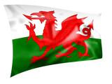 Rippled silk Welsh flag poster