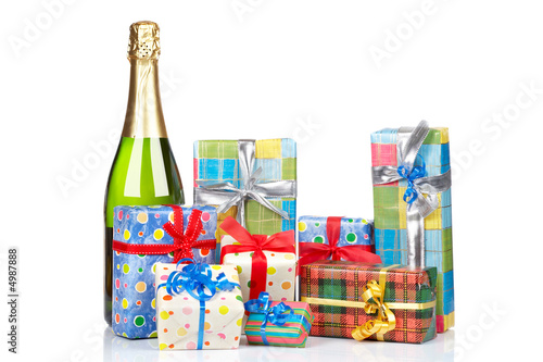Gifts and champagne bottle