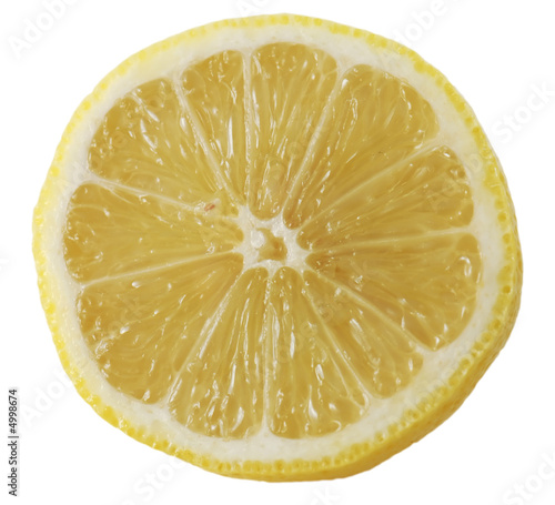 Sliced lemon isolated on white background