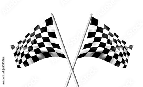 Deurstickers F1 Rippled black and white crossed chequered flags