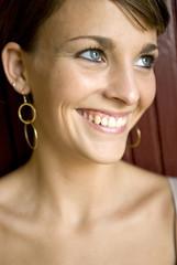 blue eyed woman smiling