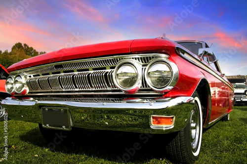 Fotobehang Oude auto s Red Muscle Car
