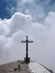 Cross on the top of Tofana Rozes mountain in Dolomiti