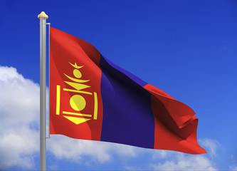 Mongolia flag (include clipping path)
