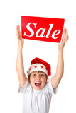Excited boy with Sale Sign - pre or post Christmas sales poster