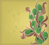 Abstraction with botanical swirls poster