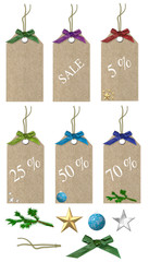 christmas sales tags with decorations