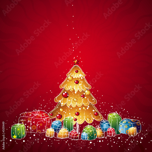 christmas tree and gifts, vector