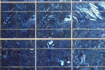 Closeup view of solar panel