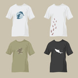 t-shirts with wildlife designs - dolphin, ants, eagle, shark poster