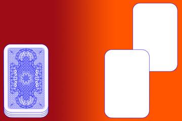 Kartenspiel, rot-oranger Tisch, blau-viollete Karten