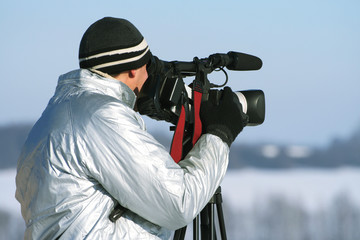 The journalist with a videocamera
