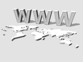 3d World Wide Web internet symbol and earth