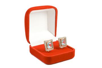 Earrings in red box.