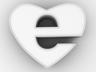 Symbol of internet as heart