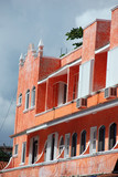 Colorful Caribbean architecture poster