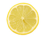 Lemon sliced in half isolated on white back ground.