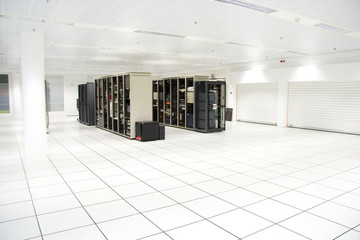 Two racks in the server room with the computers inside