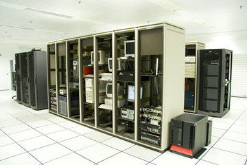 Rack in the server room with the computers inside