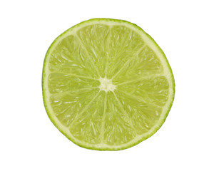 Lime sliced in half isolated on white back ground.