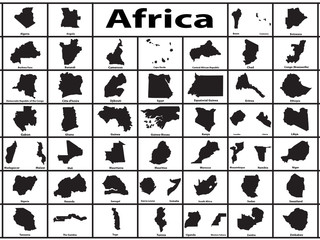 Vector silhouette of African countries