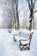 Red bench in a park covered with snow