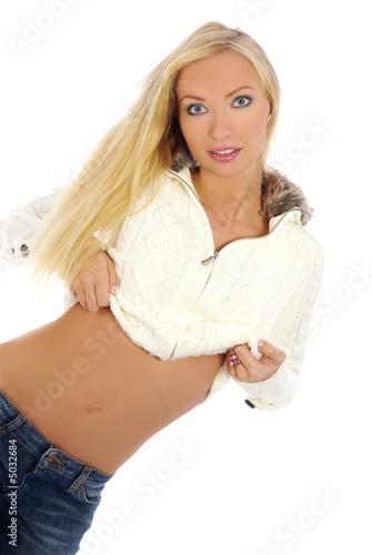 hot sexy fit blond in jeans