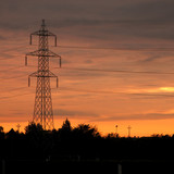 Industrial Morning: Backlighted high voltage pylon poster