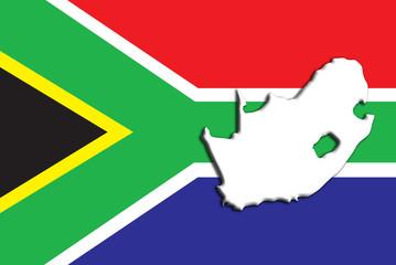 Karte Fahne Südafrika