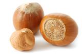 Hazelnuts isolated on white background poster