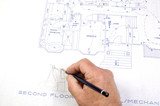 contractor making changes to Building plans poster