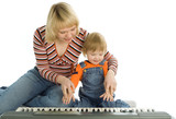 mother teach  baby play piano poster